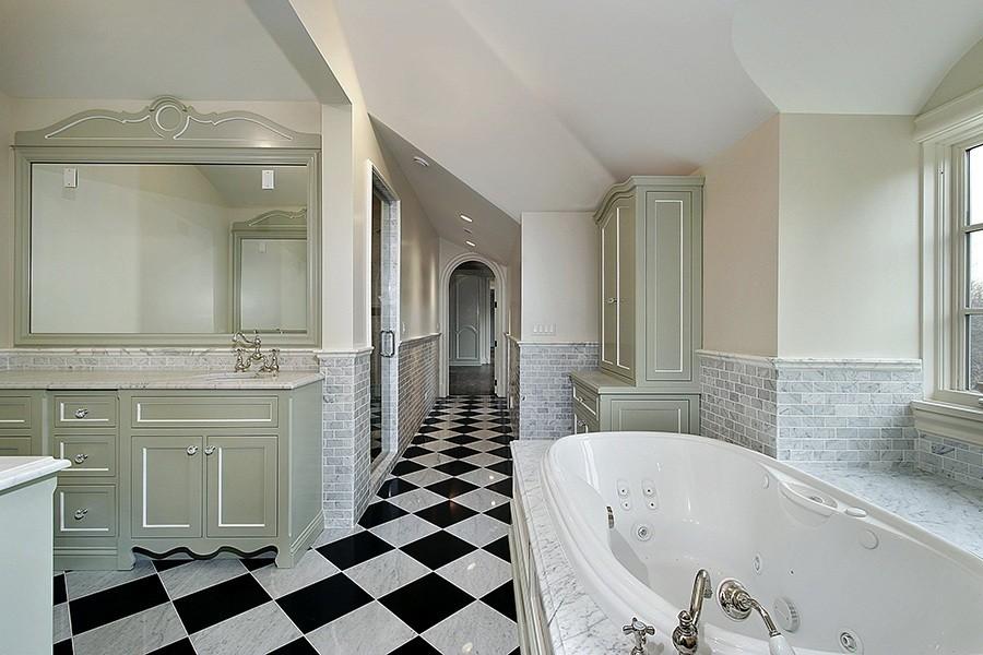 Carrara and Black Checker Board Bathroom Floor