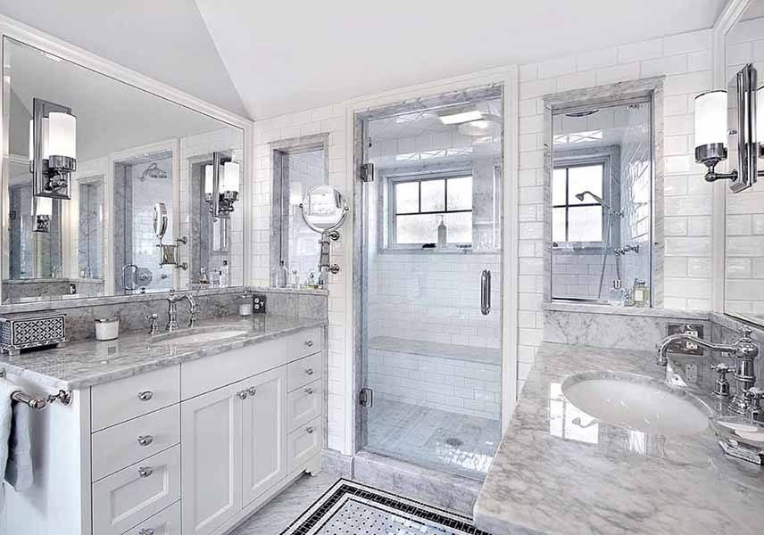 Carrara Basketweave Mosaic Bathroom