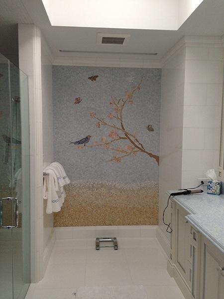 Cherry Blossom Mosaic Mural