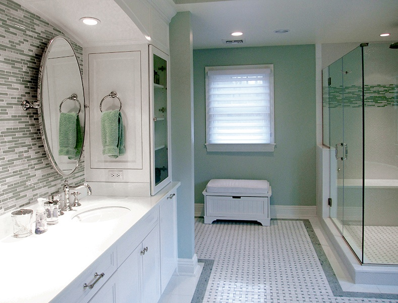 Green Soho Strips And Basketweave Mosaics