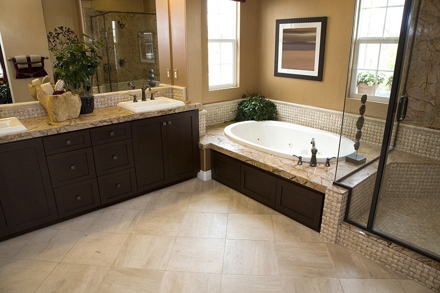 Limestone Floor in a Master Bathroom