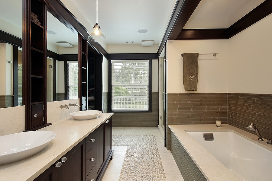They Also Have A Grounding Effect Because It Evokes The Color Of Earth Pair With Some Natural Tile Choices Like Pebble Bathroom Mosaics And Becomes