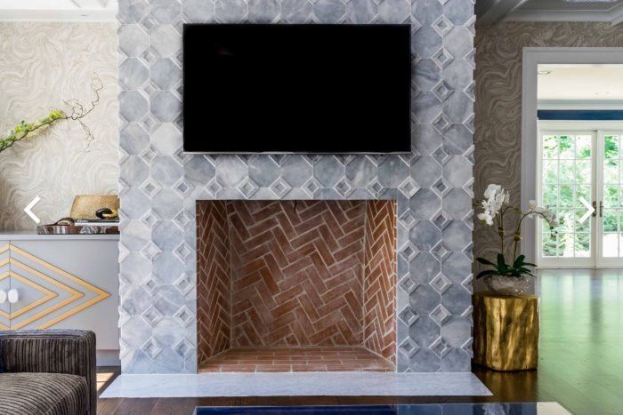 Fireplace Surround with Artistic Tile